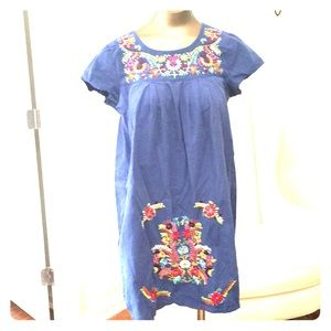 blue cotton Mexican embroidery babydoll dress M